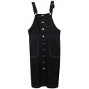 Black Button Fly Denim Overall Style Dress with Single Pocket