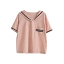 Pink Stripe Tiny Pocket Navy Style Lapel Blouse