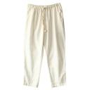 White Drawstring Waist Casual Straight Leg Pants