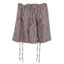 Khaki Gingham Pattern Mini Suspender Skirt
