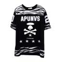 Short Sleeve Zebra Stripe Skull&Star& Letters T-Shirt