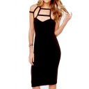 Sexy Lattice Neck Strappy Back Bodycon Dress
