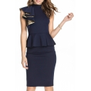 Plain One Ruffled Sleeve Fitted Midi Dress with Peplum