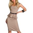 Plain Belted Ruffle Hem Fitted Mini Dress