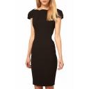 Boat Neck V-Back Short Sleeve Slim Office Lady Style Dress