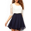 Color Block Lace Half Sleeve Belted Dress