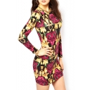 Long Sleeve Tiger Print Elastic Slim Dress