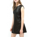 Black Plain PU Sleeveless Round Neck Dress