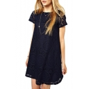 Short Sleeve Kaleidoscopic Lace Cutwork Swing Dress