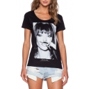 Black Short Sleeve Character Print Round Neck T-Shirt