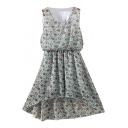 Light Blue Flora Print Elastic Waist Chiffon Tanks Dress