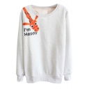 Cartoon Giraffe Print Long Sleeve Round Neck Sweatshirt