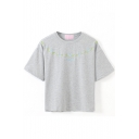 Gray Short Sleeve Vanilla Embroidered Crop T-Shirt
