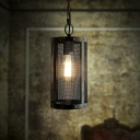 LOFT  Wrought Iron Short Cylinder Net Mini Pendant