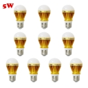10Pcs 300lm Golden  E27 5W  Cool White Light LED Bulb