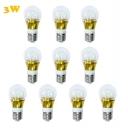 10Pcs 6000K E27 3W 300lm 85-265V  Mini LED Ball Bulb  in Gold Fiinish