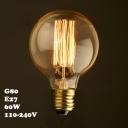 220V  80*120mm G80 E27 60W Edison Bulb