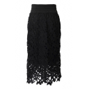 Black Lace Flower Cutwork Pencil Midi Skirt