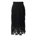 Black Lace Flower Cutwork Pencil Midi Skirt