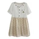 White&Beige Panel Short Sleeve Apple Embroidered Flora Print Dress