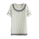 White Short Sleeve Ethnic Geometry Embroidered Linen T-Shirt