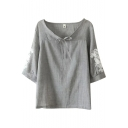 Gray 3/4 Sleeve Flower Embroidered Bow Neck Vintage Blouse