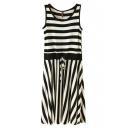 Black Stripe Panel Drawstring Waist Tanks Dress