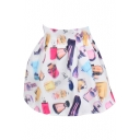 Perfume Bottle Print White High Waist Organza Skirt