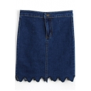 Dark Blue Curve Hem Vintage Bodycon Denim Skirt