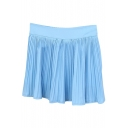 Sky Blue Fresh Style Pleated High Waist Skirt