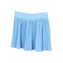 Sky Blue Fresh Style Pleated High Waist Skirt