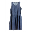 Plain Rivet Round Neck Sleeveless Denim Dress