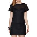 Sexy Sheer Panel Top Short Sleeve Slim Black Dress