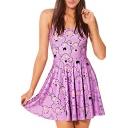 Purple Cartoon Print Cute Style A-line Tanks Dress