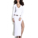 Sexy Deep V-Neck Long Sleeve Belted Maxi Dress with Side Split