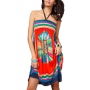 Halter Elastic Chest Line Geometry&Flower Print Beach Dress