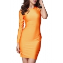 Orange Round Neck One Shoulder Cutout Back Fitted Party Dress