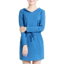 Plain Hooded Drawstring Waist Long Sleeve Dress