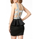 Round Neck Sleeveless Open Sequined Back Peplum Dress