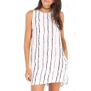 Mini Black Threads Print Column White Dress