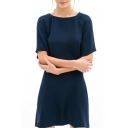 1/2 Sleeve Plain Laid Back Round Neck A-line Dress