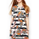 Strip Floral Print Gathered Waist Ruffle Hem Dress