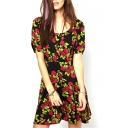 Short Sleeve Rural Style Flora Print Black Background Midi A-line Dress
