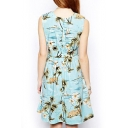 Blue Coco Tree Print Gathered Waist Tank Dress
