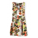 Floral Sleeveless V-Neck Pleated Dress