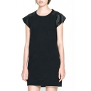 Round Neck PU Short Sleeve Shift Dress