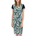 Leaf Print Round Neck Short Sleeve Midi Dress