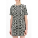 Gray Short Sleeve Animal Texture Print Dress