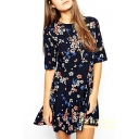 Floral Print Half Sleeve Round Neck Pleated Dress