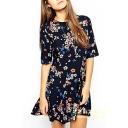 Floral Print Half Sleeve Round Neck Pleated Dress